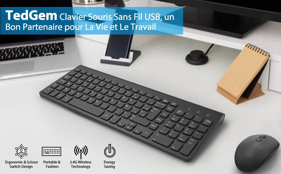TedGem Clavier Souris sans Fil USB, 2,4Ghz Clavier Souris