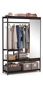 freestanding closet with mirror