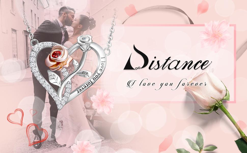 rose flower necklace for women rose heart necklace heart necklace  sterling silver