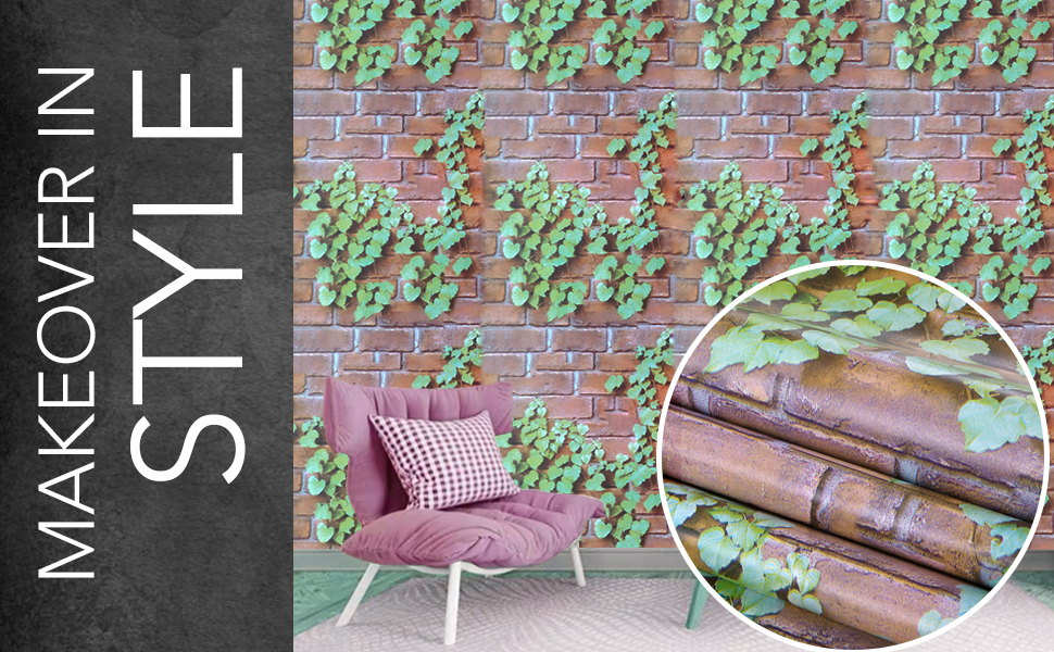wolpin 3d brick ivy plant leaves nature green wallpapers are self-adhesive, peel and stick