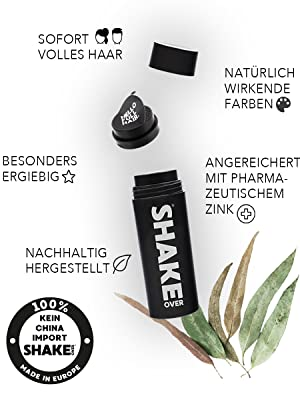 Shake Over Streuhaar Schütthaar Haarverdichtung Vegan Naturkosmetik Haarausfall Zink Haarwuchs