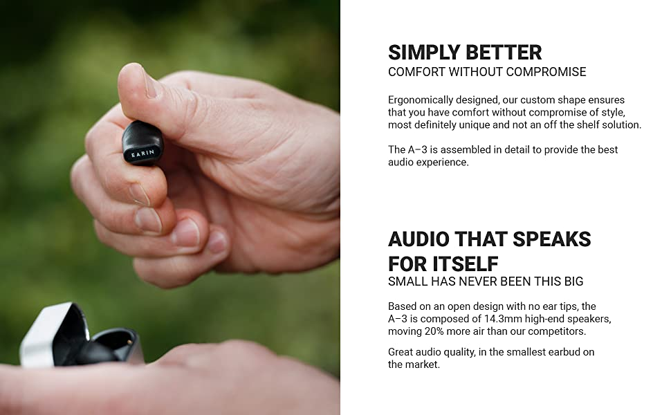 earphones, comfort, ergonomic, custom shape, headphones, ear tips, high end speakers, airpods,