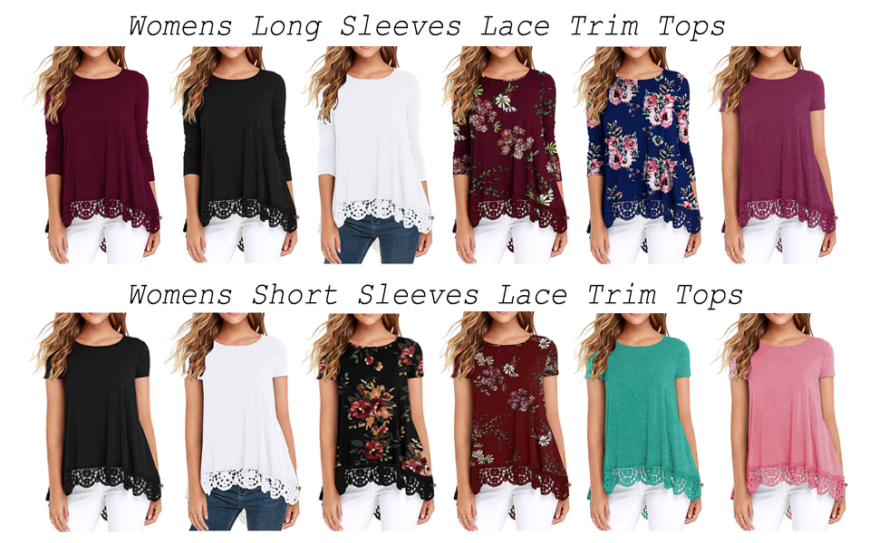 Women's Tops Long Sleeves Lace Trim O-Neck A-Line Tunic Blouse