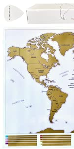 Flamingueo Mapa Mundi Rascar - Mapa del Mundo Grande para Rascar, Mapamundi con Pica Personalizada para Rascar Países, Mapa para Marcar Viajes, Regalo Viajeros, 65 x 45 cm (Mapa Mundi Rascar): Amazon.es: