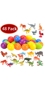 48 Pcs Easter Eggs Prefilled with Animal Figures