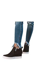wedge sneakers platform sneaker wedge booties high top shoes women wedge heel sneaker fashion