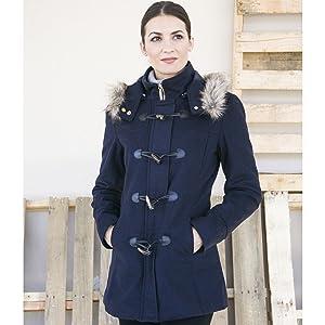 womens duffy duffle coat wool parka peacoat jacket hood