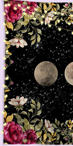 Garden Floral Tapestry Moon Phase Starry Sky Surrounded by Flowers
