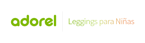 El logo de Adorel en verde y leggings para niñas en degradado.