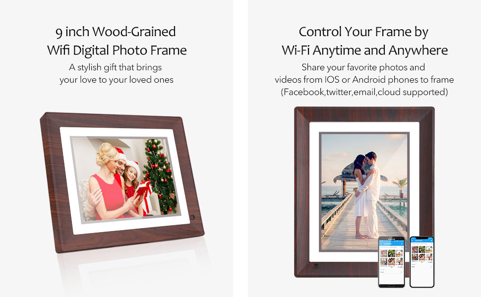 "Internet Wifi Smart Digital Photo Frame 1280 x 800 Pixels 10 /"" Black"