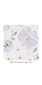 Lavender Purple, Pink, Grey and White Fabric Memory Memo Photo Bulletin Board for Watercolor Floral