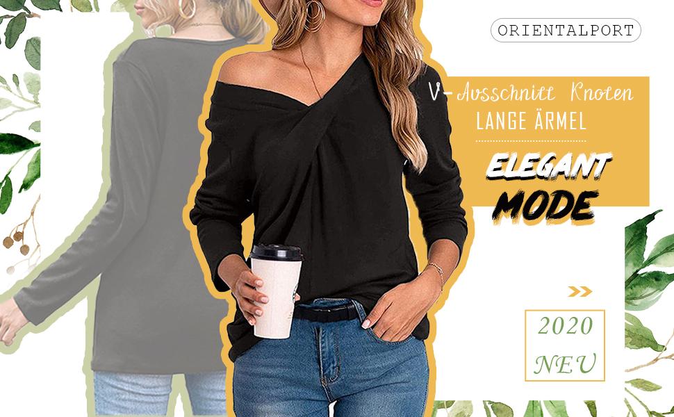 Camicia da donna con scollo a V a maniche lunghe