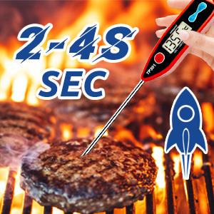 Meat thermometer digital probe baking grilling smoking fast waterproof char-broil outdoor rapid red