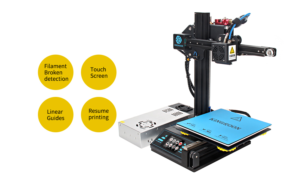 3D Printer, Kingroon DIY Aluminum Resume Printer with Touch Screen Assisted Level Free MicroSD Card Preloaded with Printable 3D Models, Printing Space ...