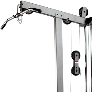 The top portion of the XMark XM-7618 cable machine for lat pulldowns with the lat bar attached