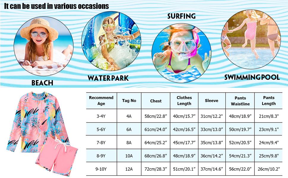 Girls Rashguard Swimsuit Swimwear UPF 50+ Long Sleeve