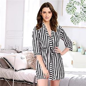 women sexy satin nightwear robe with bra panty set sexy satin robe