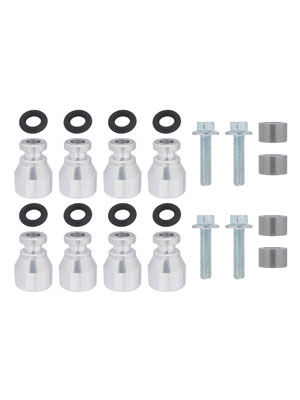 ICT Billet Fuel Injector Spacer Set of 8 LS2 Intake Manifold to LS Truck Injector Adapter