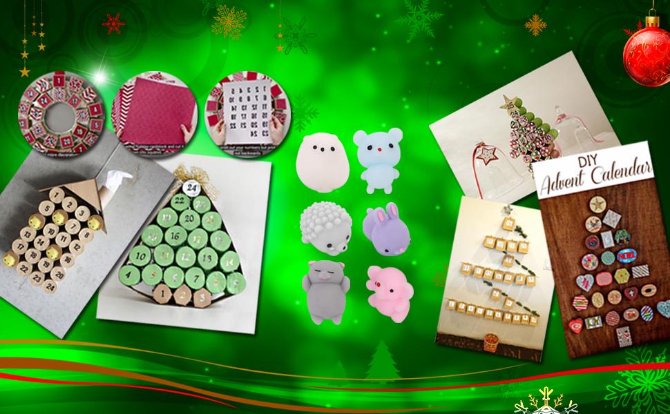 diy Christmas advent calendar with mochi squishy in the box, moshi squishies, mochy squishy