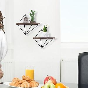set of 2 wall decor, wall shelf geometric, triangle wall shelf, bathroom wall shelves