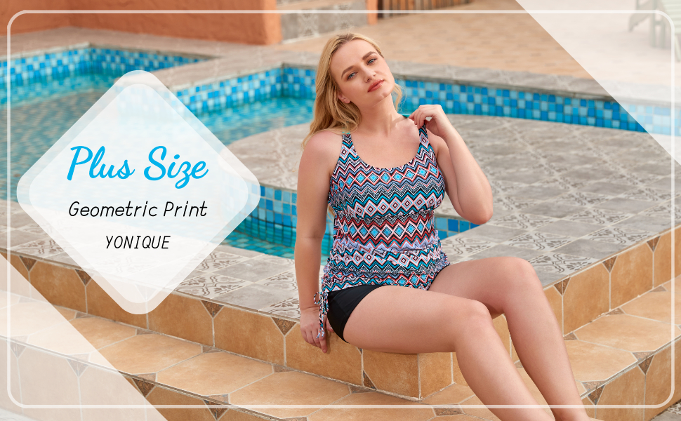 plus size swimsuits tankini top with shorts crossback strappy back geometric swimwear