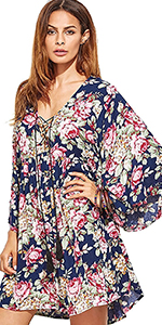 Cross Deep V Neck Floral Print Short Dress