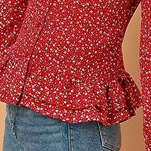 Allegra K Women's Floral Tie Bow Neck Button Down Ruffle Hem Blouse Shirt
