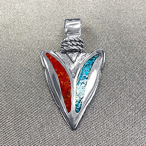 925 Sterling Silver Turquoise and Coral Gemstone Inlay Southwestern Style Pendant