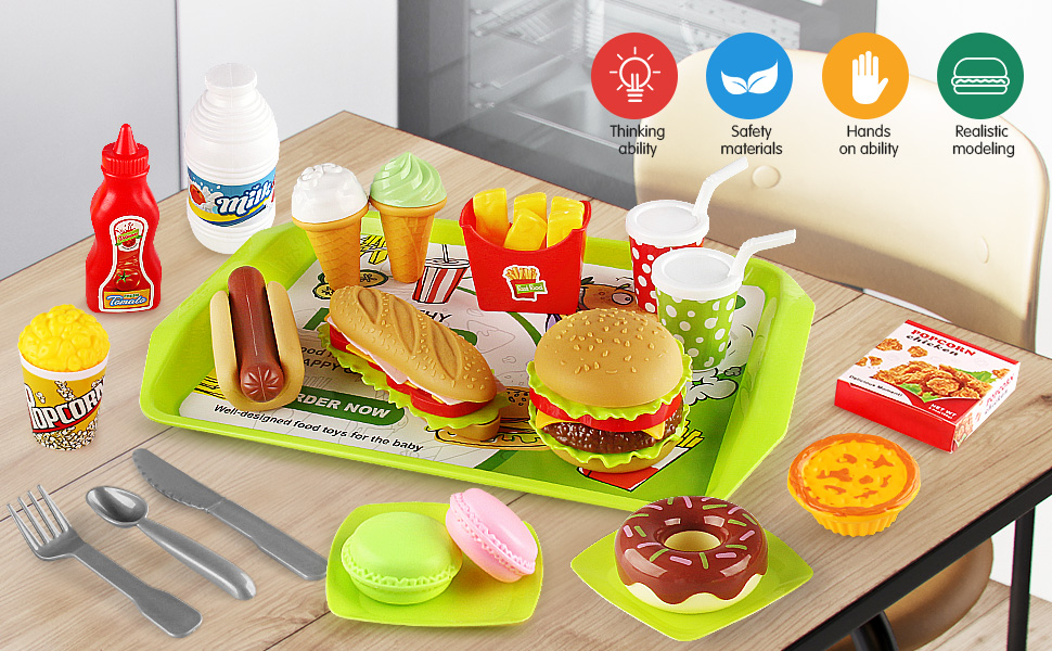kids play food toy set toddler dessert hamburger fast