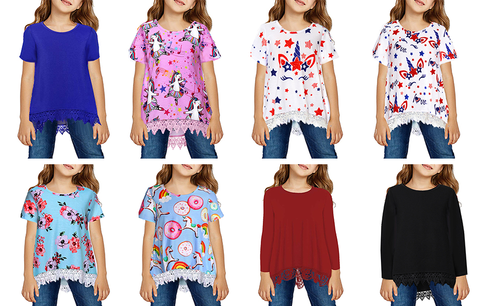 TUONROAD Girls Casual Lace Tunic Tops Long Sleeve Loose Blouse 3D Floral Novelty T-Shirt for 6-13 Years