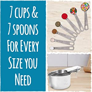 7 Measuring Cups & 7 Measuring Spoons