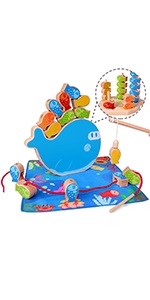 4 in 1 Wooden Magnetic Fishing Game Montessori Stacking Game and Beaded Sorter Toys