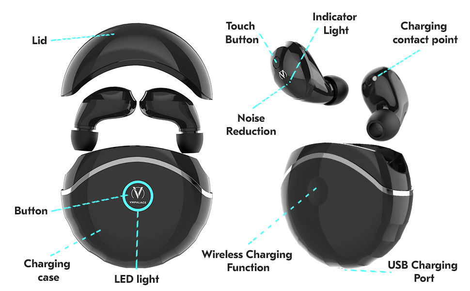 earbuds bluetooth earbuds with mic headphones wireless earbuds earphones bluetooth headset black