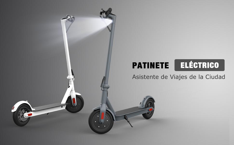 MARKBOARD Patinete Eléctrico -8.5 Pulgadas Scooter Eléctrico Plegable Batería 7.5Ah con Faro y Luz de Freno Ideal para Desplazamientos Urbanos