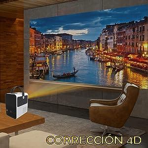 proyector con correccion 4d, keystone 4d, correccion horizontal, proyector de led, multiangulo