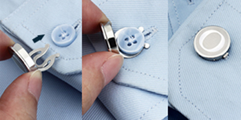 Button Covers for Men - Silver Mens Button Cover Cufflinks for Wedding and Formal Event Accessories