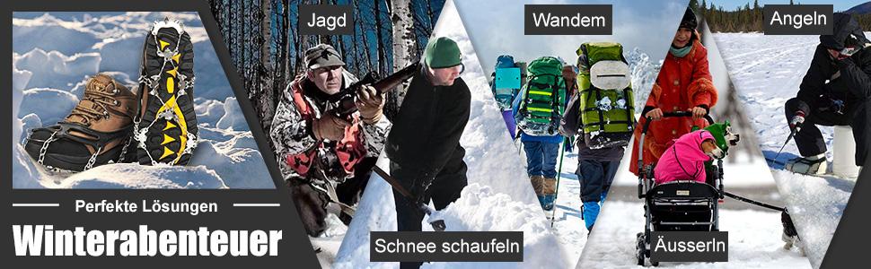 Schuhe Spike mit Edelstahl Z/ähne und Silikon Band Anti Rutsch auf EIS und Schnee f/ür Wandern Bergschuhe Stiefel usw. Wirezoll Steigeisen 11 Z/ähne Orange, XL Upgraded Version Schwarz, XL