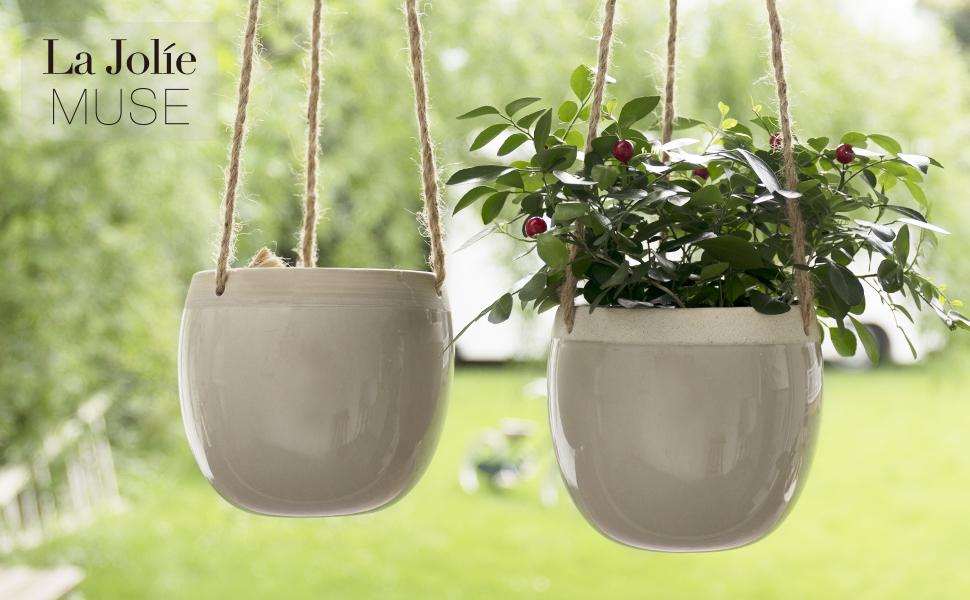 LA JOLIE MUSE Ceramic Hanging Planters Plant Pots