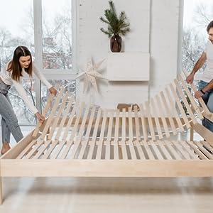 lit simple double sommier lattes avec 90x200 160x200