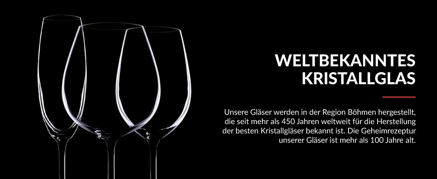 Rotwein Weingläser aus hochwertigem Titan Kristall Glas mit 650ml Fassungsvermögen