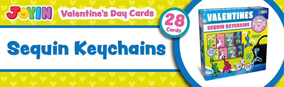 JOYIN 28 Pack Valentines Day Gift Cards with Gift Glitter Flip Sequin Keychain