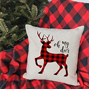 buffalo plaid black red truck Christmas pillow cases