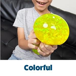 yellow glitter stress balls