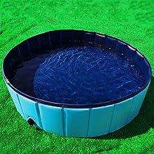 Gravitis Pet Supplies Dog Paddling Pool Folding Rigid Panel Pet Pool Extra Large 160x30cm