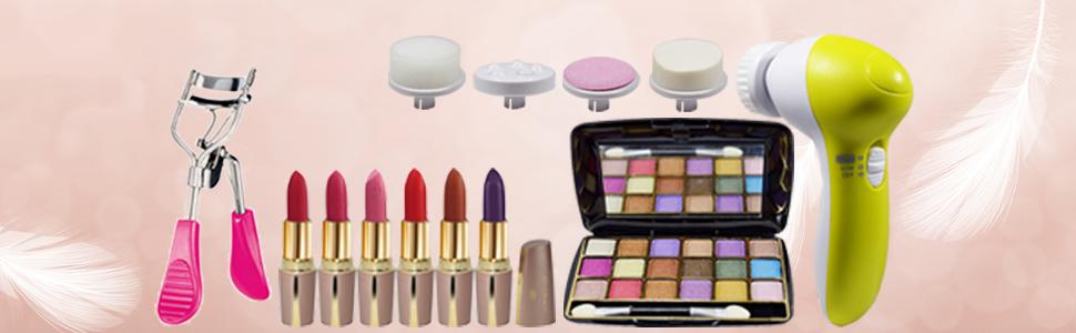 Eye Curler, Lipsticks, Eye Shadow, 5in1 Facial Massager