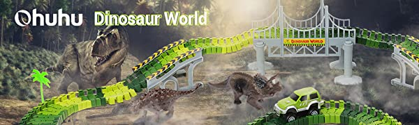 Ohuhu Dinosaur Race Track Toys, 230 Pieces Race Car Flexible Tracks Play Set Create A Road