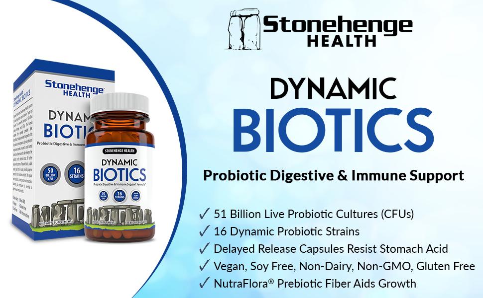 Dynamic Biotics Probiotic Digestive & Immune Support, 51 Billion CFUS, 16 Strains, Delayed Release