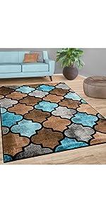 rug blue brown morrocan