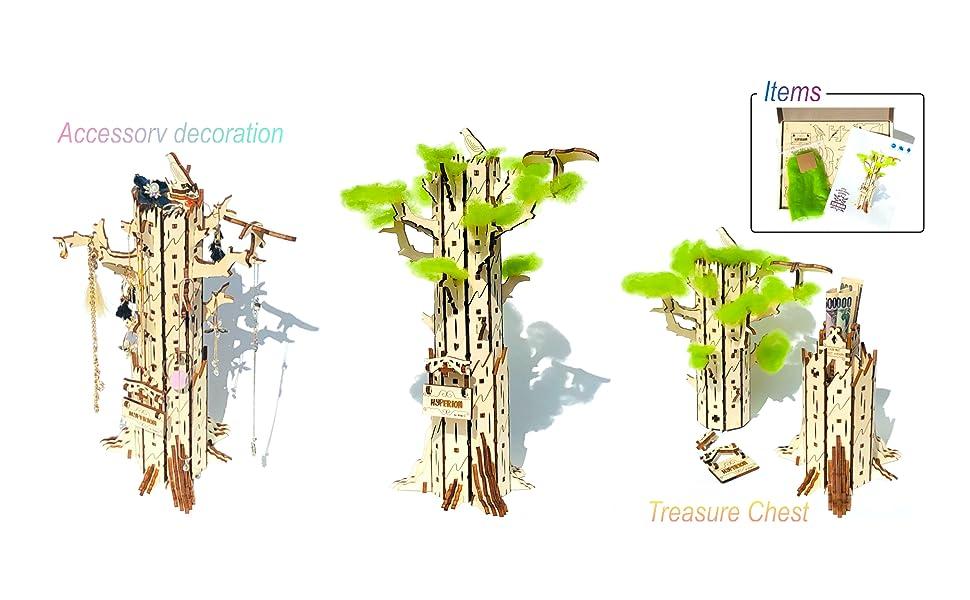shopG ハイペリオン/ホワイト 木製3D立体パズル セコイアの木 アクセサリー飾り 秘密の宝箱