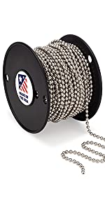 Number 10 NPS Nickle Plated Steel Spool Chain beaded ball 100 feet